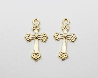 P0510/anti-Tarnished Matte Gold Plating Over Pewter/Antique Cross Pendant/10x19mm/4pcs