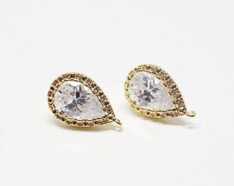 E0115/Anti-Tarnished Gold Plating Over Brass/Pear Cut CZ Earrings/9x 14mm/2pcs
