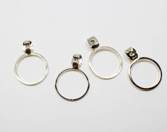 E0145/Anti-Tarnished Gold Plating Over Brass/15mm Circle Earring Back Clutch/15mm/4pcs