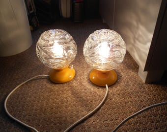 "2 night table lamp 70s, ""Graewe""."