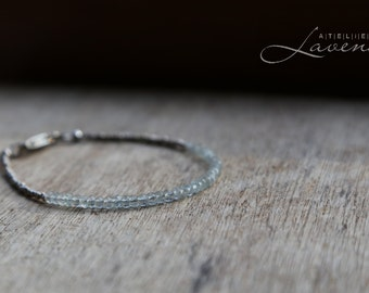 Genuine Aquamarine Bracelet 925 Sterling Silver Genuine Blue Gemstones Karen Hill Triebes Boho Jewelry Delicate Bracelet  March Birthstone