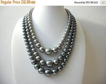 ON SALE Vintage JAPAN 1940s Gray Triple Strand Plastic Beads Necklace 40117