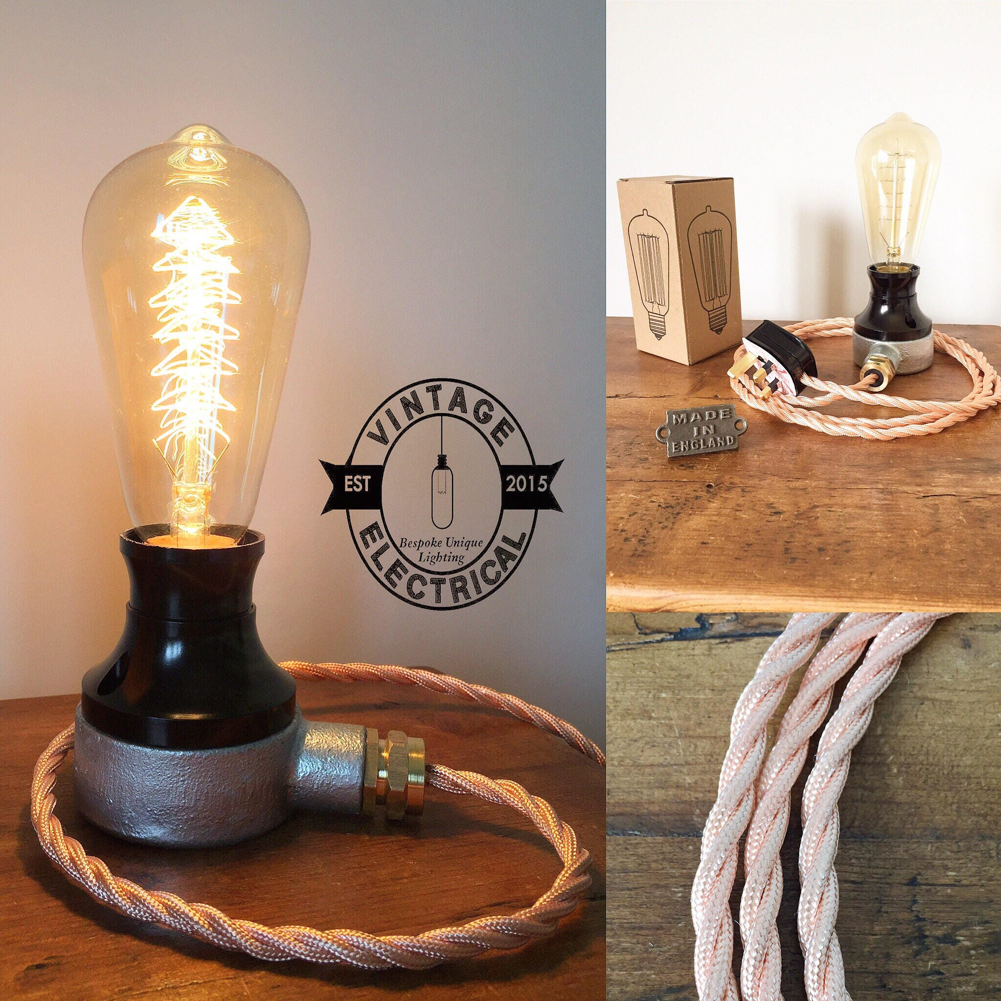 The Barford Bakelite Copper Coloured Cable Industrial Table Light Vintage Edison Filament