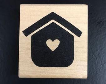 Wooden Rubber Stamp Heart Bird House