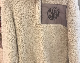 Monogrammed Sherpa Pullover Jacket Tan