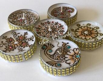 Set of 6, fresh henna decorated jumbo tea lights/wedding favors/henna party favors/eid decor/party favor/henna design/Indian wedding