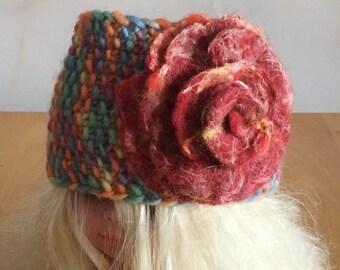 Knitted Headband  Ear Warmer  Woolly Ear  Warmer  Knitted Headband Decorated with Merino Wool Flower
