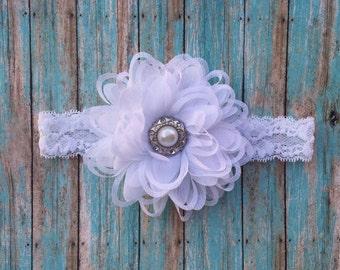 White flower vintage baby headband- white headband- white newborn headband-white  vintage lace  baptism headband-white christening headband