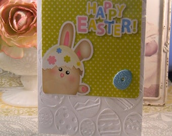 Easter Greeting Card, Easter bunny Greeting, Embossed Easter Egg Card, Happy Bunny, Easter Card Handmade Greeting Cards