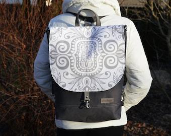 Grey White Waterproof Backpack, Boho Vegan Backpack, Festival Rucksack, Student Backpack, Convertible Bag, Women's Crpssbpdy Bag