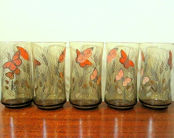 Vintage 70s Libbey Set of 5 Monarch Butterfly and Wheat Printed 12 oz Glasses