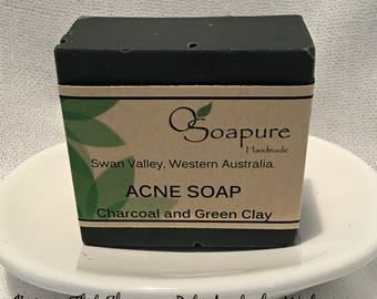 Acne Soap Bar - Activated Charcoal & Green Clay Cold Process Soap