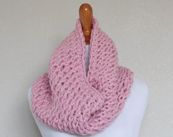 READY TO SHIP - Chunky Knit Cowl, Scarf, Oxygen Cowl, Blossom Pink Cowl