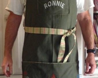 Full BBQ apron embroidered color choice denim canvas twill cream white maroon