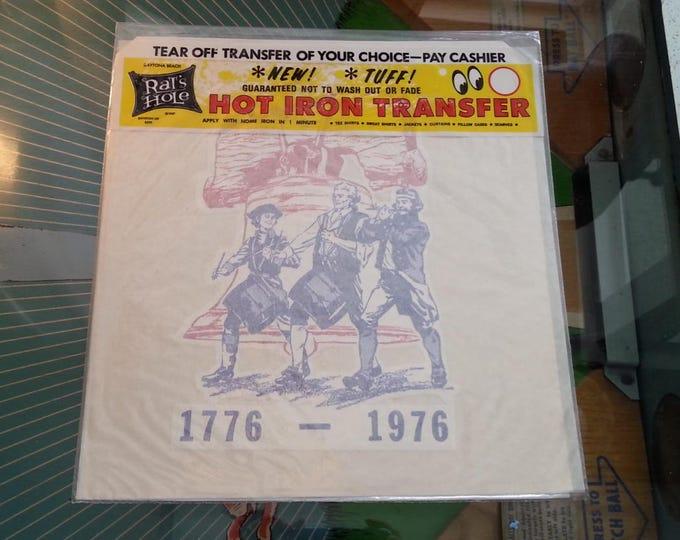 Vintage Iron On Transfer USA Stars and Stripes Bicentennial