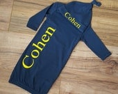Navy Blue Personalized baby gown- monogrammed gown and hat, gown with name, beanie hat, personalized baby outfit, baby shower gift, baby boy