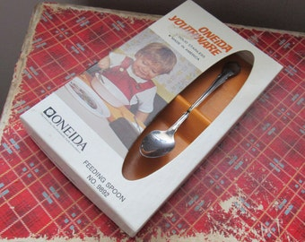 "Child Spoon Vintage Oneida ""Youthware"" Stainless  Feeding Spoon Vintage Spoon in Original Box"