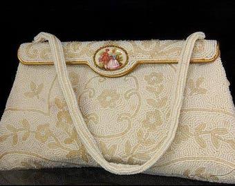 Vintage French Porcelain Plaque Beaded White Decoration Purse Handbag