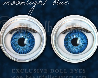 "Moonlight Blue Doll Eyes - Custom American Girl 18"" Doll Size Replacement Repair Part ©BC"