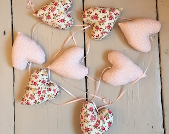 Stuffed heart bunting