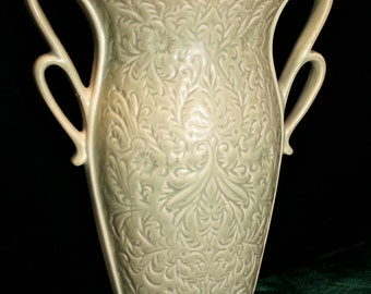 Red Wing pottery vase; USA pottery; celery green pottery vase; embossed design