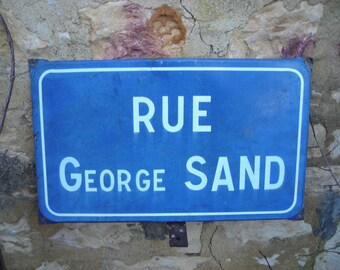 Old French Street Sign.  George Sand Street Sign. Vintage French Street Sign.