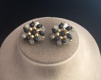 Vintage Chunky Black & White Glass Stone Clip Earrings