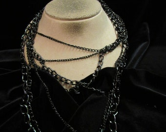 Vintage Chunky Long Multi Stranded Black Chains Necklace