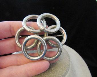 Vintage Large Silvertone Circles Pin