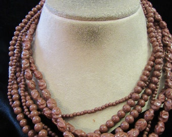Vintage Chunky Multi Stranded Brown Beaded Necklace