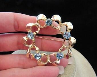Vintage Large Goldtone & Baby Blue Rhinestone Pin