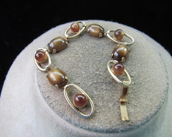 Vintage Goldtone & Shades Of Brown Stone Bracelet