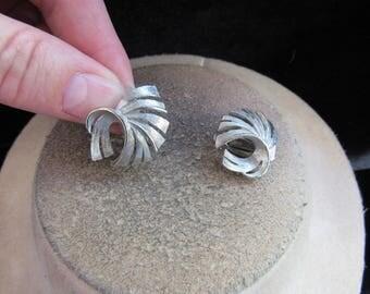 Vintage Pair Of Silvertone Clip Earrings