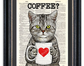Cat with Coffee, Kitchen Art Print, Dictionary Art Print, Cat Wall Art, Funny Cat Print
