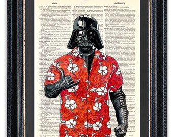 Darth Vader in Hawaiian Shirt, Dictionary Art Print, Star Wars Art Print,Star Wars Darth Vader, Aloha Shirt, Shaka Sign