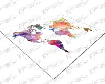 Print on Canvas watercolour map of the world Europe Asia America Africa X1622
