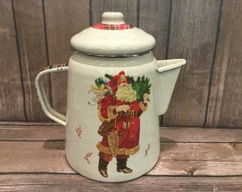 Christmas Enamelware Hallmark Mitford Pitcher with vintage Santa