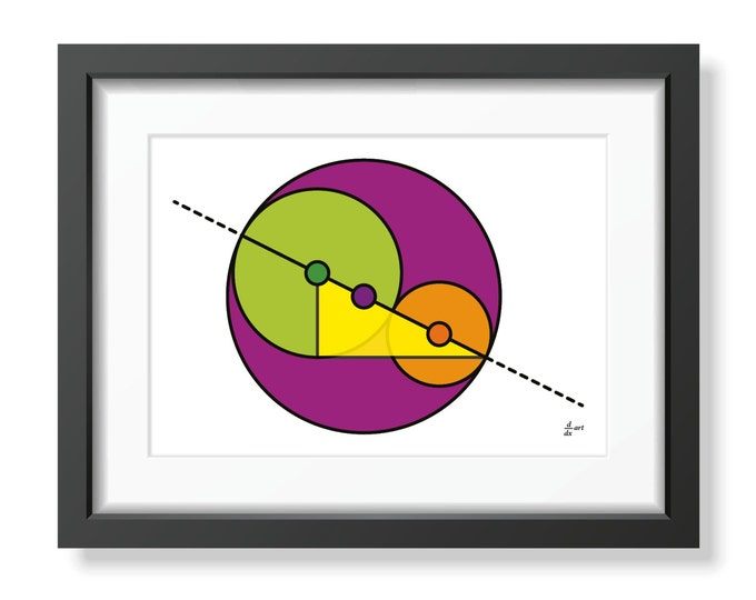 Golden Ratio Circles 01 [mathematical abstract art print, unframed] A4/A3 sizes