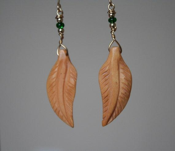 Brass Bone Feather Earrings