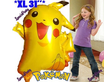 XL Pokemon Pikachu balloons party decoration table cover banner flag cupcake toppers latex foil Charmander Bulbasaur Squirtle