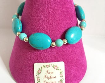 Handmade Turquoise and Sterling Silver Bracelet