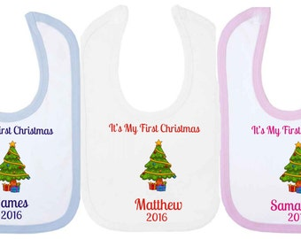 It's My First Christmas Personalised Baby Bib With Christmas Tree. Available in WHITE, PINK or BLUE