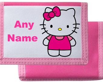Personalised Hello Kitty Style Purse/Wallet Available In Black/Pink/Blue/Red
