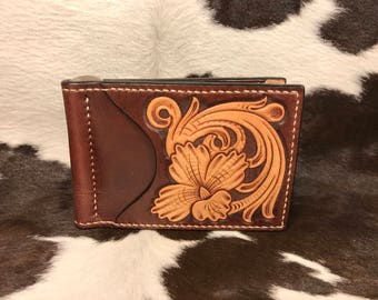 Money Clip Wallet - Hand Tooled