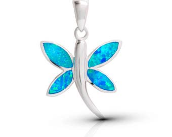 silver blue opal dragonfly pendant,dragonfly necklace,silver dragonfly,dragonfly jewelry,blue opal jewelry,animal jewelry,statement pendant