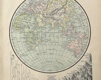Antique Map of the Eastern Hemisphere, Original 1900 Atlas Page, Antique Map, Spanish American War, Vintage Map, Large Antique Map, Prints
