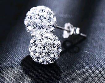 Sterling Silver (.925 stamped) Austrian Rhinestone Crystal Ball Stud Earrings