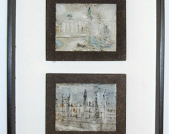 Abstract Expressionist London Cityscape Paintings Vertical