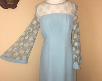 60s Baby Blue Dream Dress with Lace Bell Sleeves