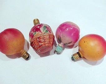 vintage Christmas lights, glass, figural lights, 2 apples, 1 rose, 1 basket, pink light bulbs, home decor, collectibles